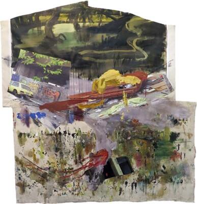 Vicky Neumann, 2015, Periferia, Collage y técnica mixta, 192x189cm