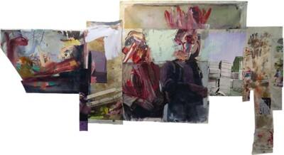 Vicky Neumann, 2015, Suburbio, Collage y técnica mixta, 216x394cm