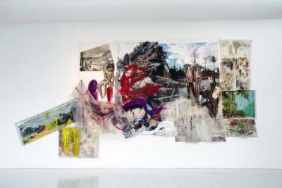 Vicky Neuman, 2014, Obra 07, Acrílico y óleo sobre tela, collage, plástico y mugre. 690x336cm