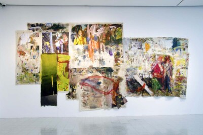 Vicky Neumann, 2014, Obra 10, Acrílico y oleo sobre tela, collage y mugre. 854x450cm.