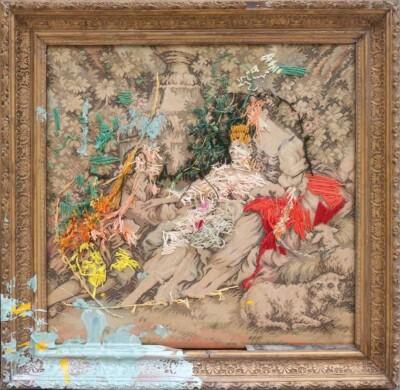 2017 - Escenas Bucólicas 4 - Pintura e hilo sobre gobelino - 46x46cm