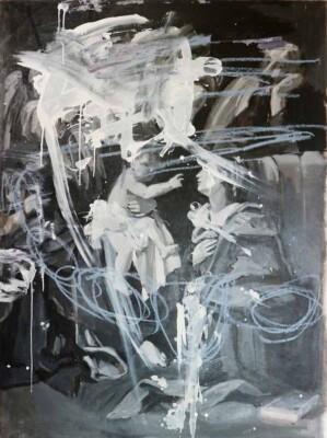 Vicky Neumann - 2017 - Sagrada familia Covarozzi Blanco y Negro - Mixta sobre tela - 172x127cm