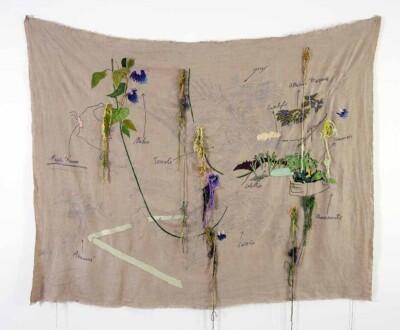 Vicky Neumann - Puerto Nuevo o Hierbas de Azotea - 2019 - Bordado sobre lino - 173 x 208 cm