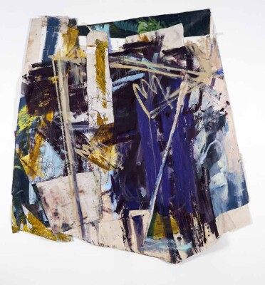 Vicky Neumann - Retro, 2019 - Óleo, bordado y esmalte industrial sobre lienzo - 199 x 190 cm