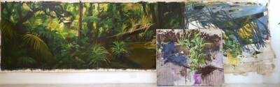 Vicky Neumann - Selva larga (Díptico) - 2019 - Óleo y Collage - 182.5 x 737 cm