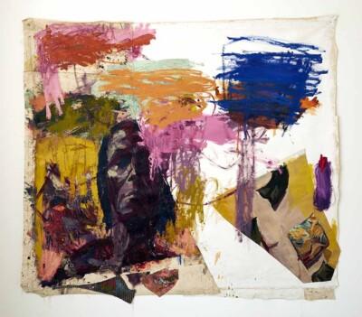 Vicky Neumann - Clemen y Cojines - 2019 - Óleo, Collage y Esmalte Industrial Sobre Lienzo - 197 x 218 cm