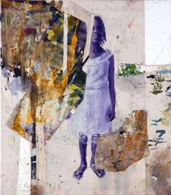 Vicky Neumann - Clemen con Bordado de Armadillo - 2019 - Óleo, Collage y Bordado Sobre Lienzo - 173 x 150 cm