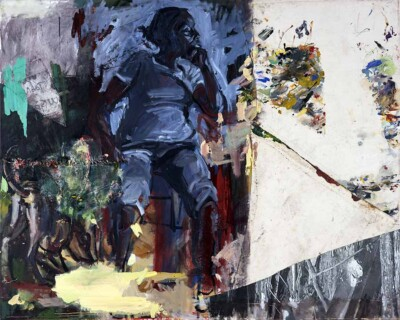 Vicky Neumann - Clemen Sentada con Desechos de Pintura - 2019 - Collage, Pintura, Oleo, Hilo y Plástico - 168 x 233 cm