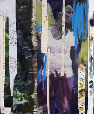 Vicky Neumann - Clemen en Tiras - 2019 - Óleo, Collage y Bordado - 170 x 140 cm